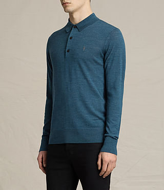 Hombres Mode Merino Polo Shirt (UNIFORM BLUE) - product_image_alt_text_3