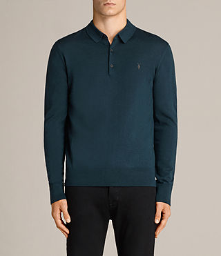 Hommes Mode Merino Polo Shirt (OIL BLUE) - Image 1