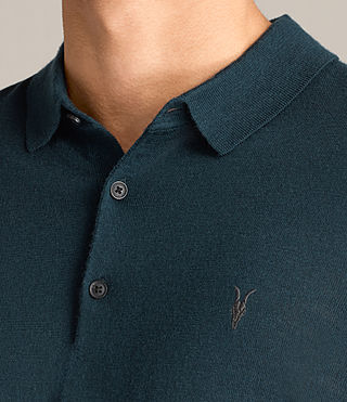 Mens Mode Merino Polo Shirt (OIL BLUE) - Image 2