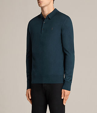 Mens Mode Merino Polo Shirt (OIL BLUE) - Image 3