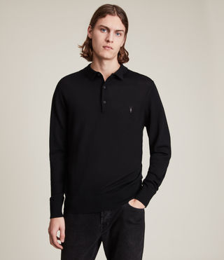 Hommes Mode Merino Long Sleeve Polo Shirt (Black)