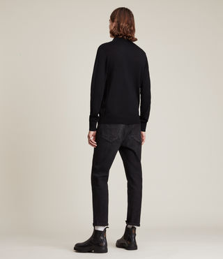 Hommes Mode Merino Long Sleeve Polo (Black) - product_image_alt_text_4