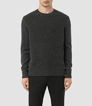Mens Drammen Crew Sweater (Charcoal Marl) - product_image_alt_text_1