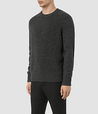 Mens Drammen Crew Sweater (Charcoal Marl) - product_image_alt_text_3