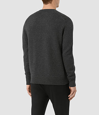 Mens Drammen Crew Sweater (Charcoal Marl) - product_image_alt_text_4