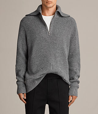 Mens Ivann Funnel Sweater (Grey Marl) - Image 1