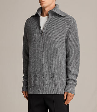 Mens Ivann Funnel Sweater (Grey Marl) - Image 4