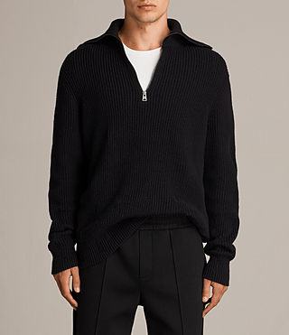 Mens Ivann Funnel Sweater (Black) - product_image_alt_text_1