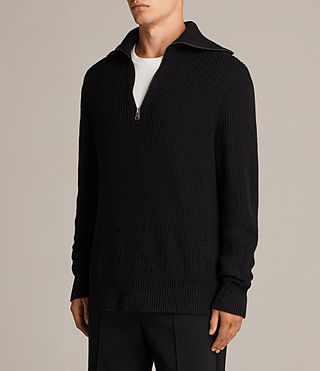 Mens Ivann Funnel Sweater (Black) - product_image_alt_text_4