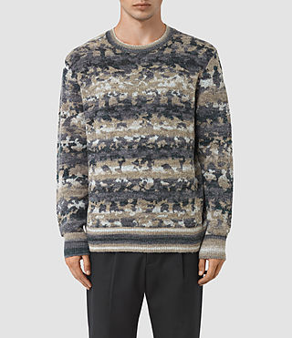 Hombres Landry Crew Jumper (Taupe Marl)