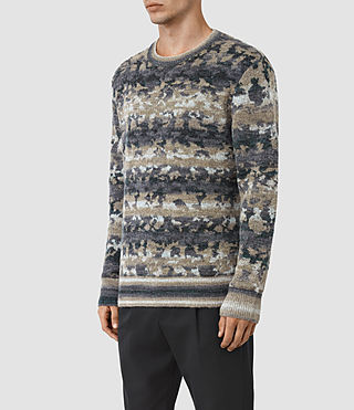 Mens Landry Crew Sweater (Taupe Marl) - product_image_alt_text_2