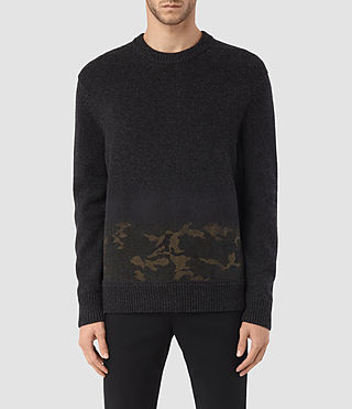 Mens Barra Crew Sweater (CINDER BLACK CAMO)