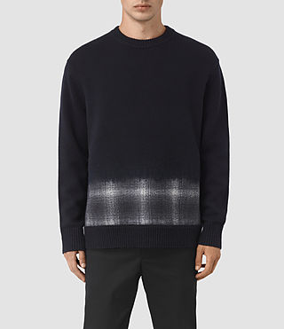 Hombre Barra Crew Jumper (INK NAVY PLAID)