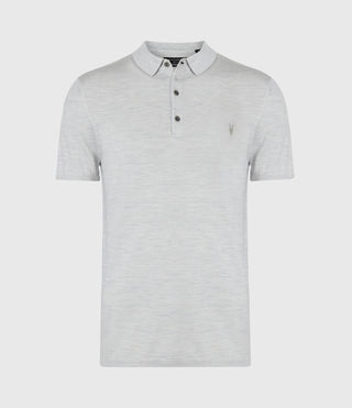 Men's Mode Merino Ss Polo (Light Grey Marl) - Image 2