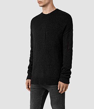 Men's Ektarr Crew Jumper (Black) - product_image_alt_text_3