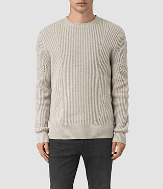Mens Hiren Crew Jumper (Taupe Marl) - product_image_alt_text_1