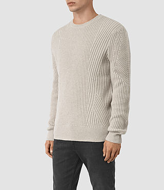 Hommes Hiren Crew Jumper (Taupe Marl) - product_image_alt_text_4