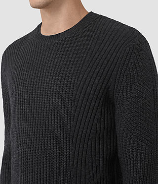 Hombres Hiren Crew Jumper (Cinder Black Marl) - product_image_alt_text_2
