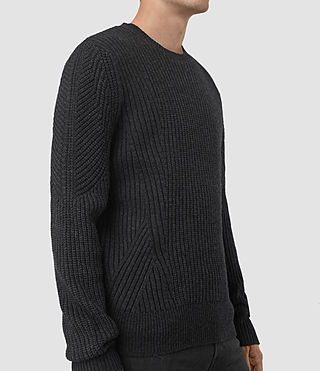 Hombres Hiren Crew Jumper (Cinder Black Marl) - product_image_alt_text_3