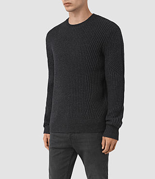 Hombres Hiren Crew Jumper (Cinder Black Marl) - product_image_alt_text_4