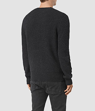 Hombres Hiren Crew Jumper (Cinder Black Marl) - product_image_alt_text_5
