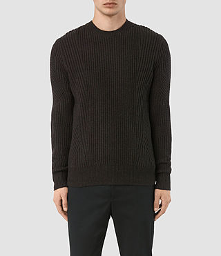 Men's Hiren Crew Jumper (BITTER BLACK MARL)