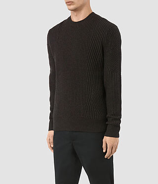 Uomo Hiren Crew Jumper (BITTER BLACK MARL) - product_image_alt_text_3
