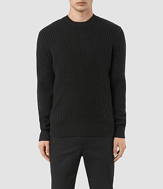 Mens Hiren Crew Sweater (Black) - product_image_alt_text_1