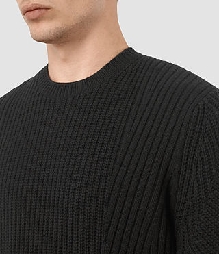 Hombres Hiren Crew Jumper (Black) - product_image_alt_text_2
