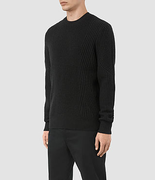 Hombres Hiren Crew Jumper (Black) - product_image_alt_text_3