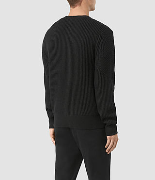 Hombres Hiren Crew Jumper (Black) - product_image_alt_text_4