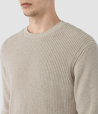 Hombres Rothay Crew Jumper (Taupe Marl) - product_image_alt_text_2