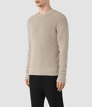 Men's Rothay Crew Jumper (Taupe Marl) - product_image_alt_text_3