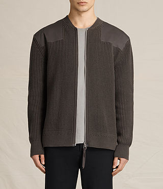 Mens Byde Zip Through Sweater (SAGE GREEN)