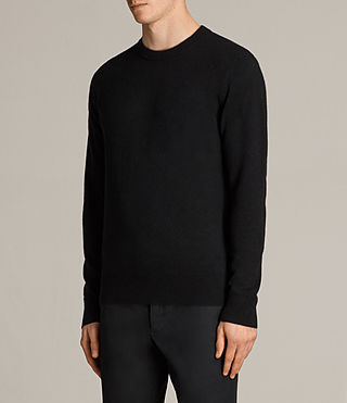 Men's Hale Cashmere Crew Jumper (Black) - Image 4