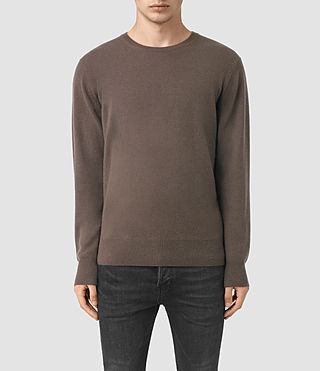 Men's Mont Cashmere Crew Jumper (BATTLE BROWN)