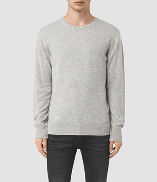 Mens Mont Cashmere Crew Sweater (Light Grey Marl)