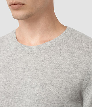 Mens Mont Cashmere Crew Sweater (Light Grey Marl) - product_image_alt_text_2