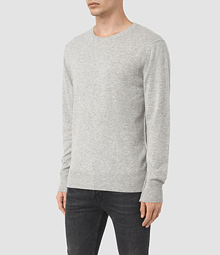 Mens Mont Cashmere Crew Sweater (Light Grey Marl) - product_image_alt_text_3