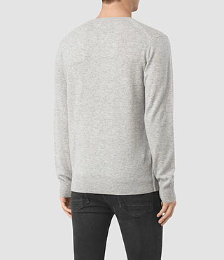 Mens Mont Cashmere Crew Sweater (Light Grey Marl) - product_image_alt_text_4