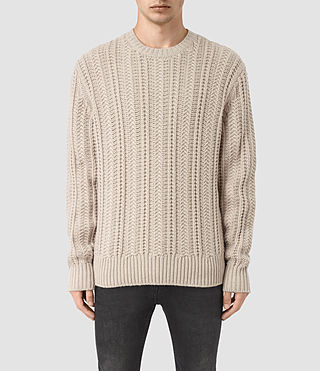 Mens Fiske Crew Sweater (Taupe Marl)