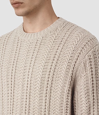 Men's Fiske Crew Jumper (Taupe Marl) - product_image_alt_text_2