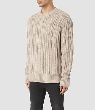 Men's Fiske Crew Jumper (Taupe Marl) - product_image_alt_text_3