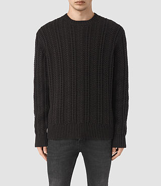 Mens Fiske Crew Sweater (BITTER BLACK MARL) - product_image_alt_text_1