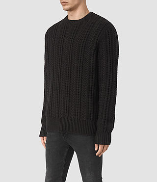 Mens Fiske Crew Sweater (BITTER BLACK MARL) - product_image_alt_text_3