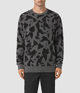 Hombres Montauld Crew Jumper (Charcoal Marl) -