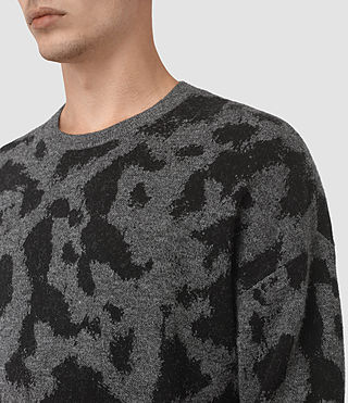 Mens Montauld Crew Jumper (Charcoal Marl) - product_image_alt_text_2