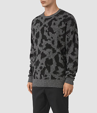 Mens Montauld Crew Jumper (Charcoal Marl) - product_image_alt_text_3