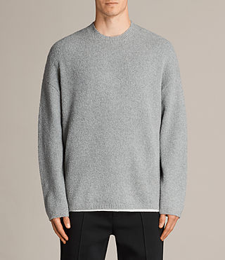 Mens Arinn Crew Sweater (Grey Marl) - product_image_alt_text_1