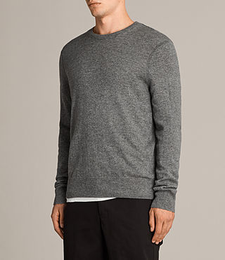 Mens Alec Crew Sweater (Grey Marl) - Image 3